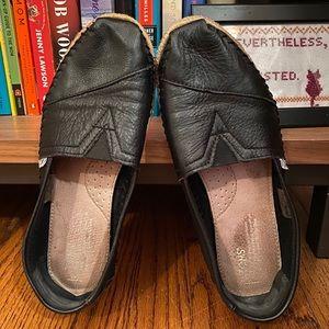 Toms Shoes Black Leather Espadrilles Size 9
